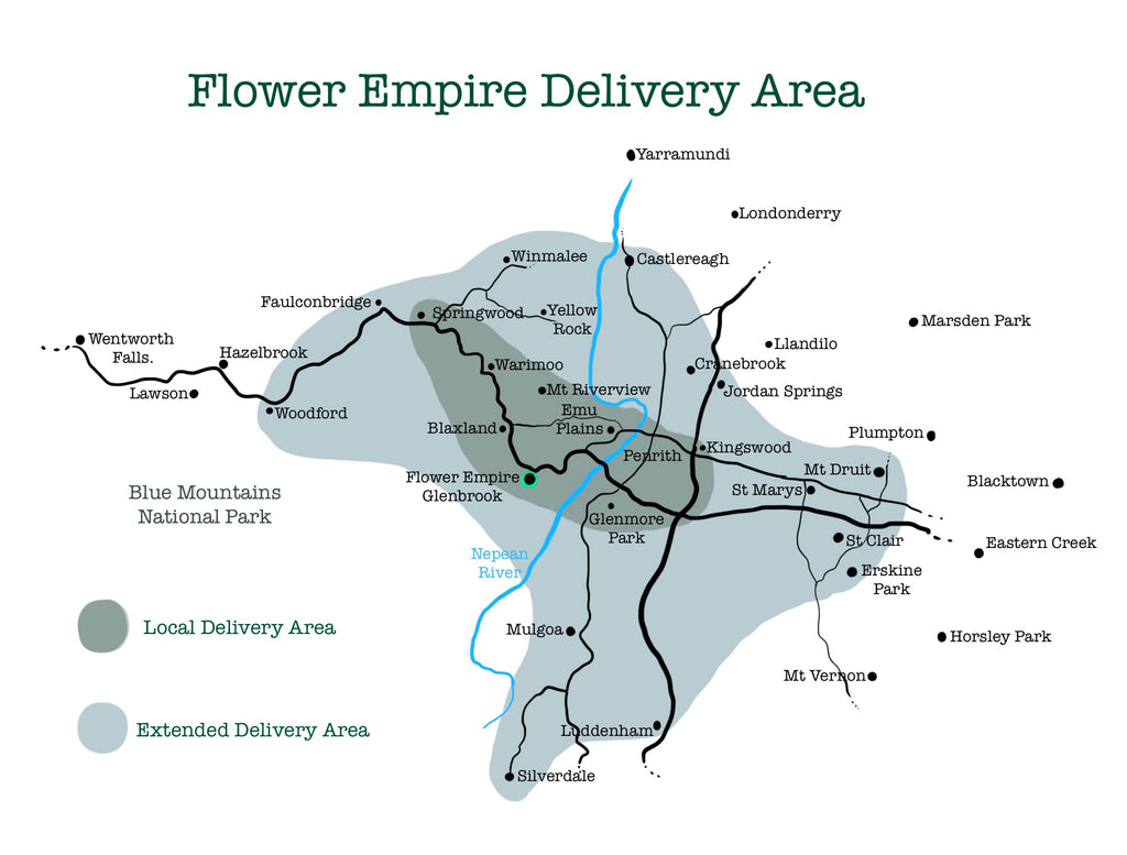 Florist delivery area map blue mountains western Sydney Penrith Flower Empire