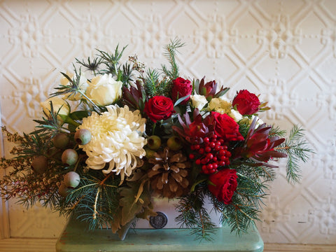 Christmas Arrangement in a Long Low Ceramic