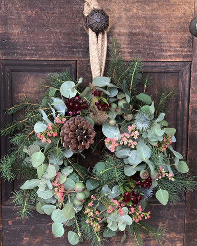 Christmas Wreath - Fresh Wildflowers and Gum