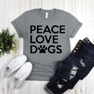 Peace Love Dogs With Dog Footprint
