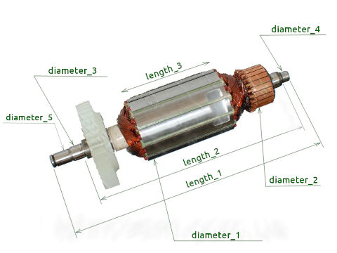 Select electric tools armature by dimensions