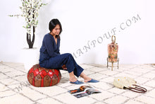 Load image into Gallery viewer, Brown & red Leather Ottoman Pouf