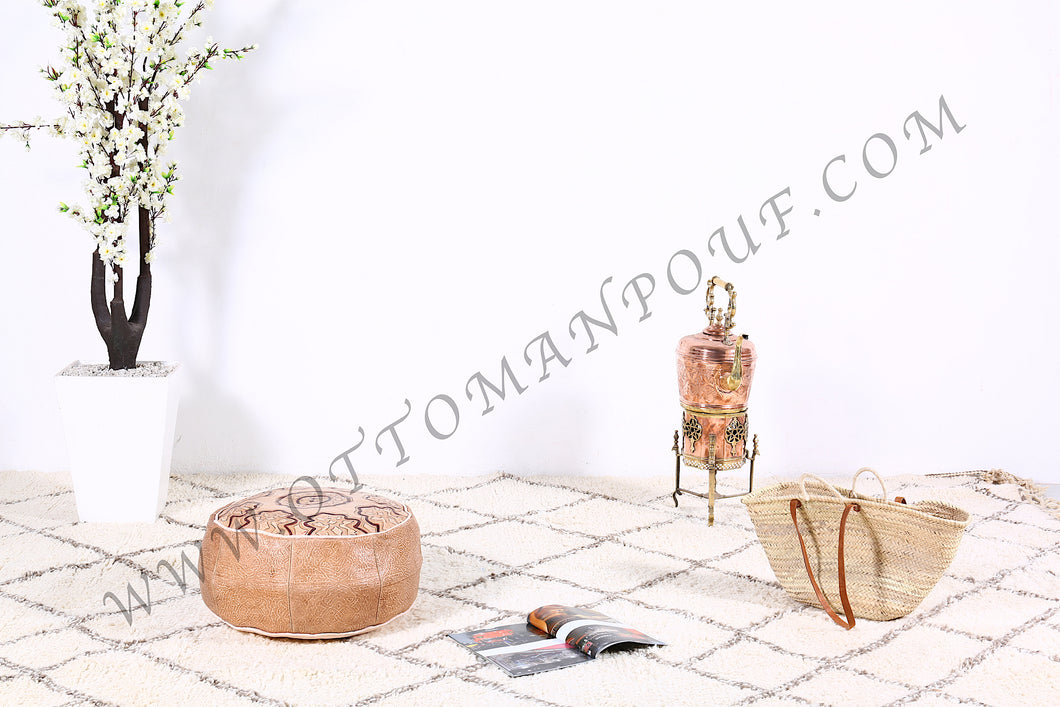 Natural Leather Ottoman Pouf