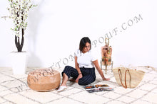 Load image into Gallery viewer, Natural Leather Ottoman Pouf