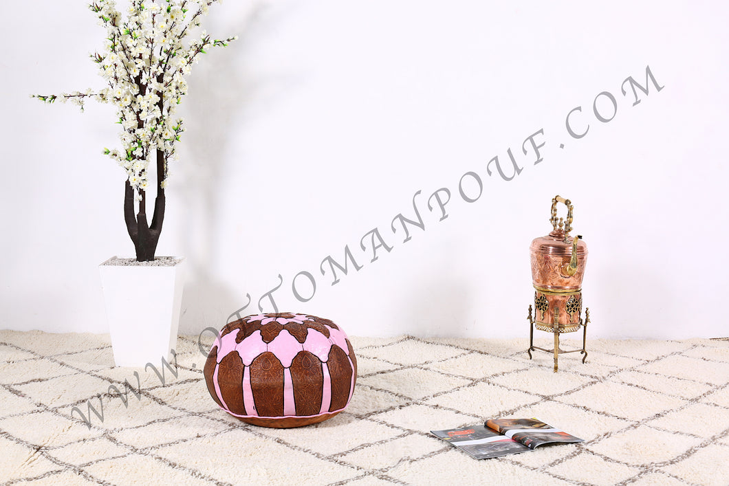Brown & Pink Leather Pouf