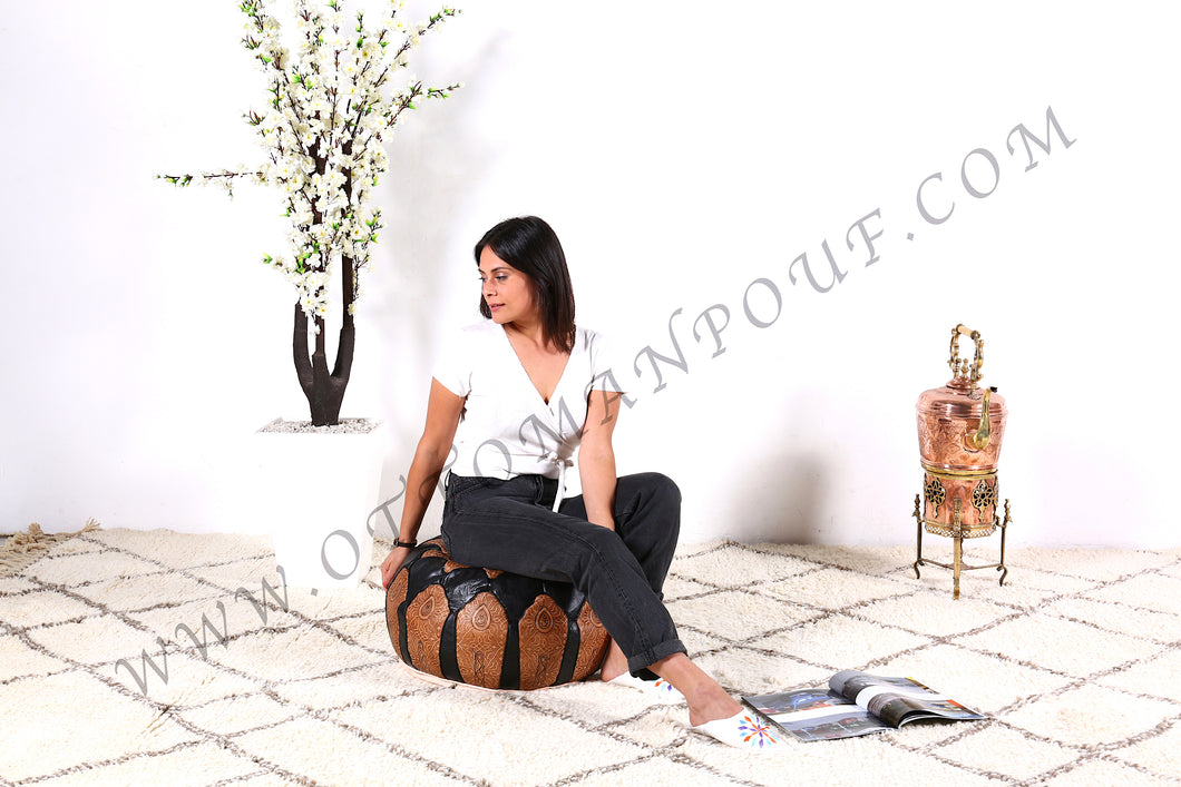 Brown & Black Leather Pouf