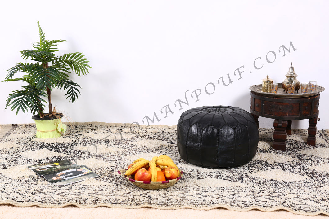 Black Leather Ottoman Pouf from New York