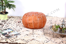 Load image into Gallery viewer, Caramel Tan Ottoman Pouf