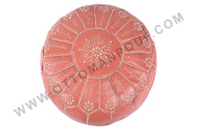 Load image into Gallery viewer, Hot Peach Moroccan Leather Round Pouf