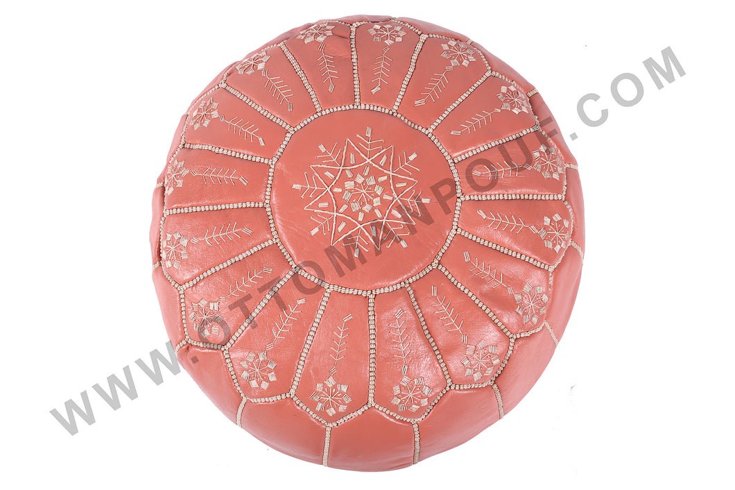 Hot Peach Moroccan Leather Round Pouf