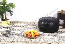 Load image into Gallery viewer, Black Leather Ottoman Pouf from New York