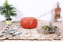 Load image into Gallery viewer, Leather Ottoman Orange Pouf