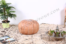 Load image into Gallery viewer, Leather Ottoman Tan Pouf