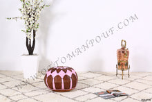Load image into Gallery viewer, Brown & Pink Leather Pouf