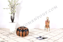 Load image into Gallery viewer, Brown & Black Leather Pouf
