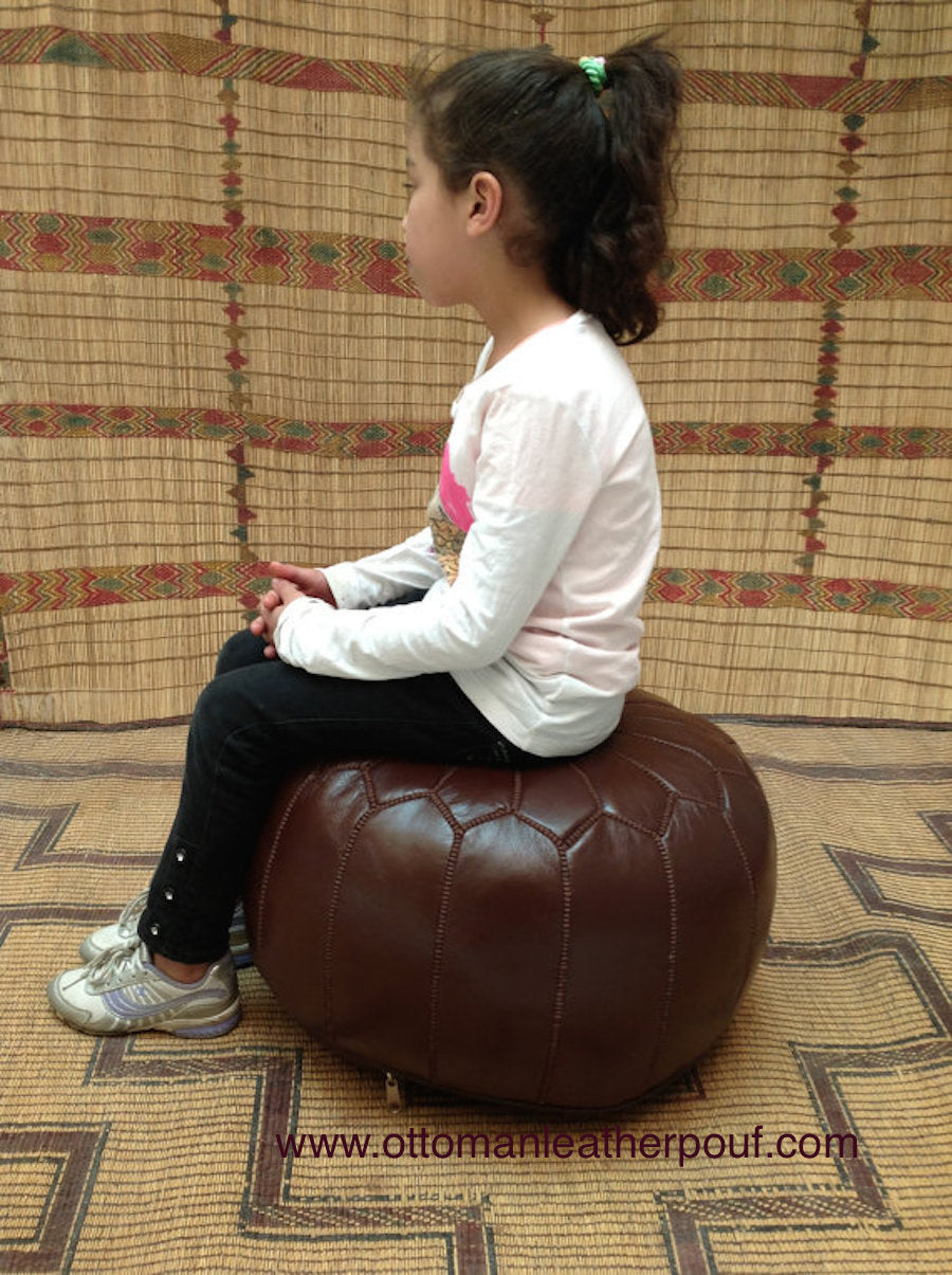 Brownish Leather pouf