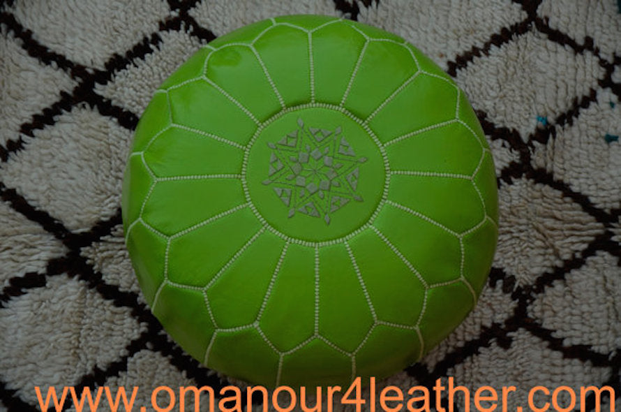 Leather Ottoman in lime Green