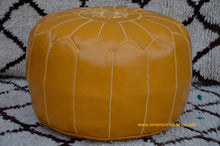 Load image into Gallery viewer, Hand Stitched Leather Mustard Yellow Ottoman Pouf
