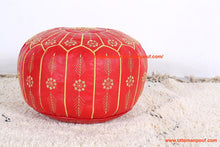 Load image into Gallery viewer, Orange Leather Ottoman yellow stitching Pouf