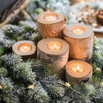 Eco Friendly Christmas tree, sustainable, environmentally conscious, responsible festival Christmas wooden candles