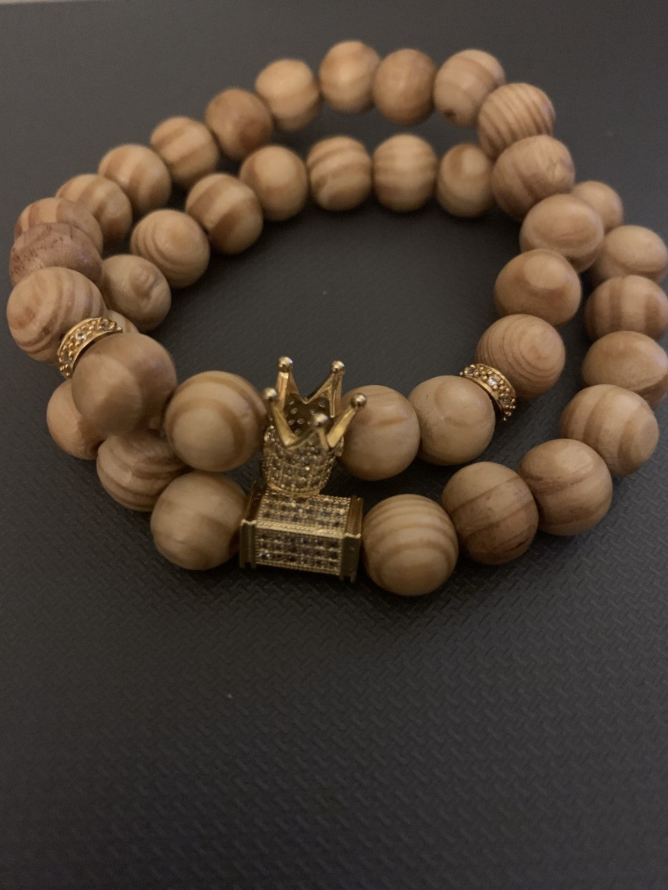 Natural Wood with Gold Crown and Gold Bar Bracelet(s)