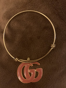 Gold bangle brown and gold inspired Gucci charm