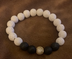 White and Black Lava with Round Gold CZ
