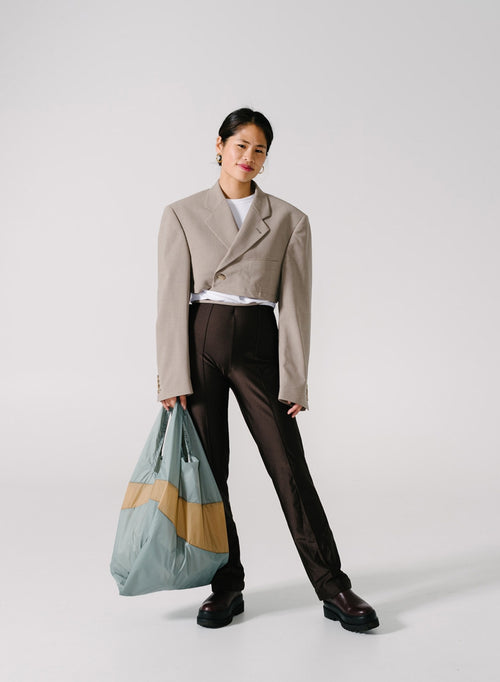 The New Shopping Bag Grey & Camel Large