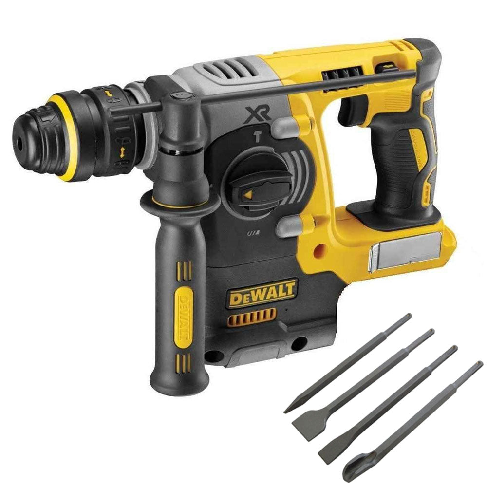 Dewalt DCH273N 18V Brushless SDS+ Rotary Hammer Drill with 4 Piece Chisel Set