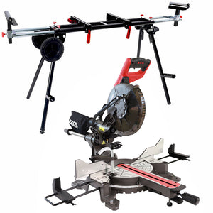"Excel 255mm 10"" Compound Sliding Mitre Saw Double Bevel 2000W with Universal Wheel Stand"