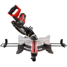 "Load image into Gallery viewer, Excel 255mm 10"" Compound Sliding Mitre Saw Double Bevel 2000W with Universal Wheel Stand"