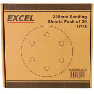 Excel 225mm Sanding Sheet Pack of 20 Piece