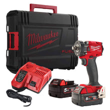 "Load image into Gallery viewer, Milwaukee M18FIW2F12-502X 18V Fuel 1/2"" Compact Impact Wrench with Friction Ring Kit"
