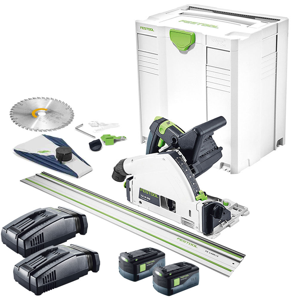 Festool TSC 55 18v Plunge Saw in SYS 2x5.2As + 2xRapid Charger Rail