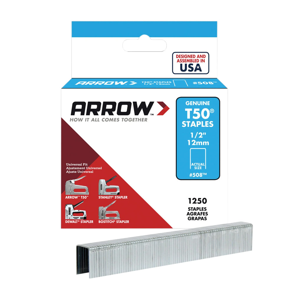 Arrow T50 Staples Box 1250 12mm 1/2 inch ARRT5012S