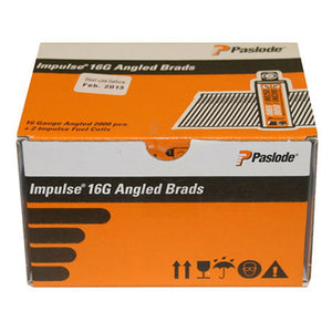Paslode 300271 16g x 38mm ELGV Angled Electro Galvanised Brads Nails Fuel Pack 2000 with 2 Fuel Cells