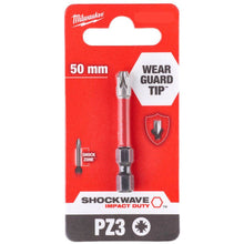 Load image into Gallery viewer, Milwaukee Shockwave PZ3 50mm Screwdriver Bit 4932472051
