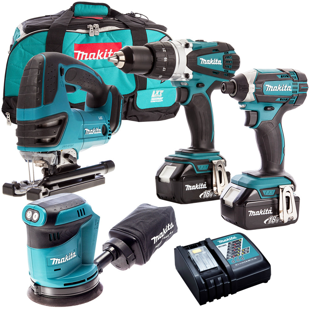 Makita 4 Piece 18V Li-ion with 2 x 5.0Ah Batteries & Charger T4TKIT-153