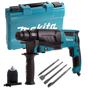Makita HR2630 3 Mode Hammer Drill 240V with 4 Piece Chisel Set + Keyless Chuck