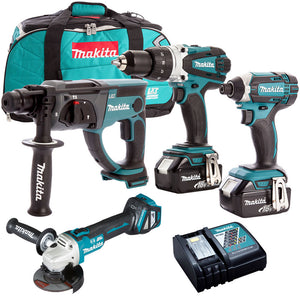Makita 4 Piece 18V Li-ion with 2 x 5.0Ah Batteries & Charger T4TKIT-1520