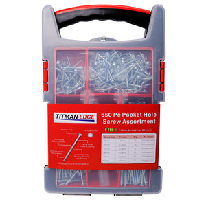 Titman 650 Pcs Pocket Hole Assorted Screws in Case with 150mm Screwdriver Bit