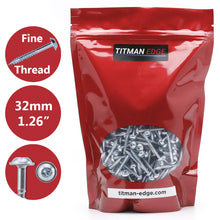 Load image into Gallery viewer, Titman 500 Pcs 7 x 32mm Zinc Coated Pocket Hole Square Drive Screws