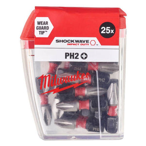 Milwaukee Shockwave PH2 25mm Screwdriver Bits 25pc Pack 4932472037