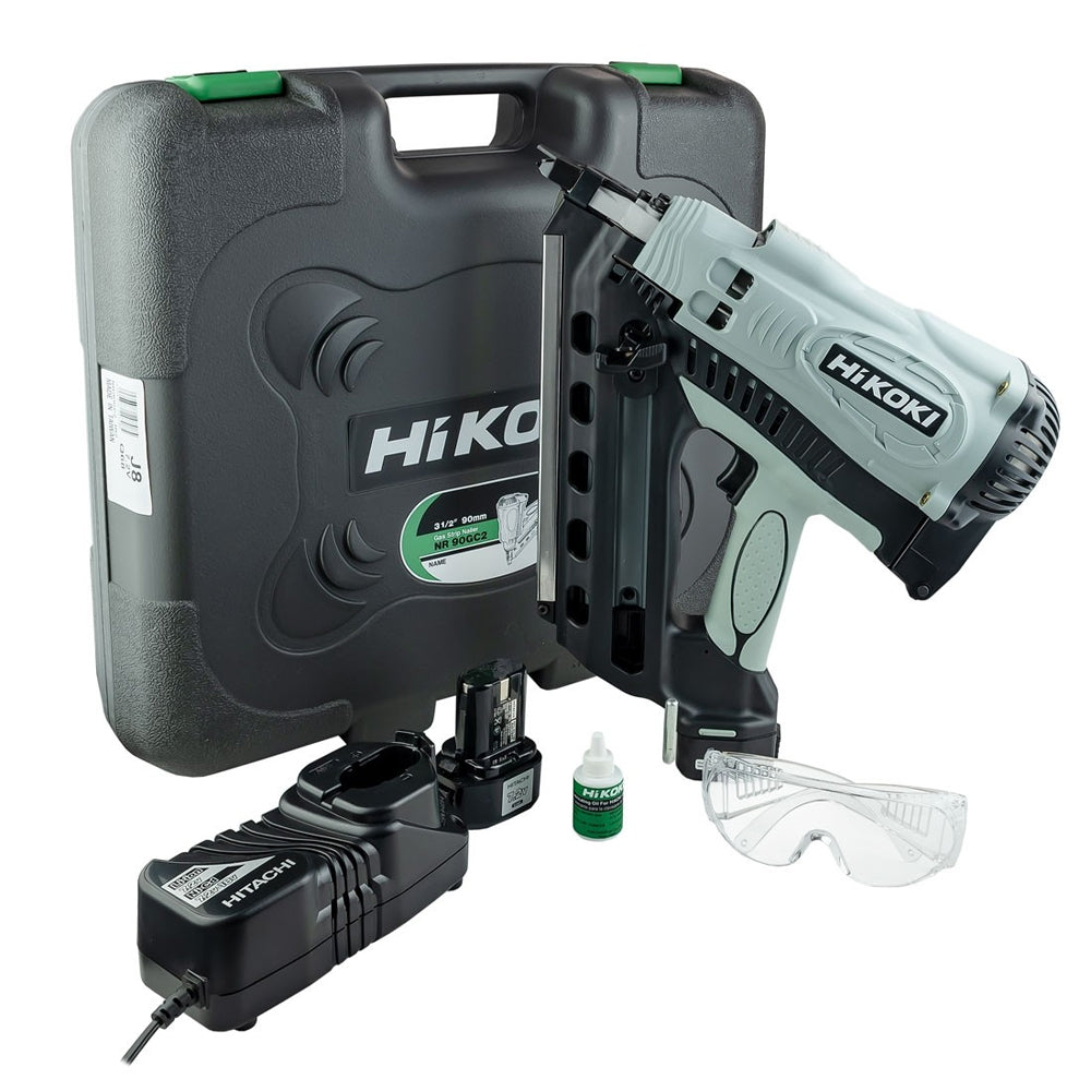 HiKOKI NR90GC2/J8 Gas Clipped Head First Fix Framing Nailer With 2 x 1.5Ah Batteries & Charger