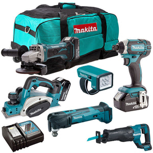 Makita 18V 6 Piece Cordless Power Tool Kit with 3 x 5.0Ah Batteries T4TKIT-229