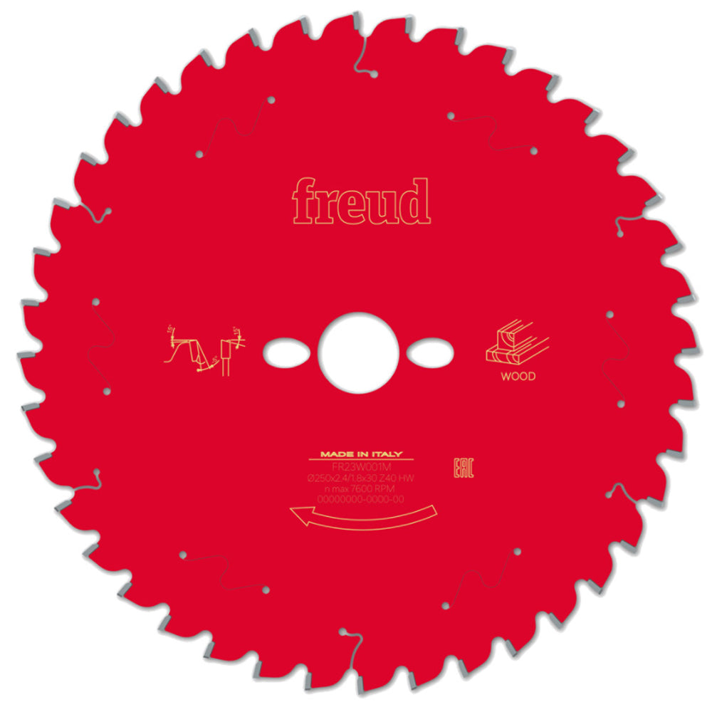 Freud 250mm x 30mm x 40T Mitre Saw Blade for Wood