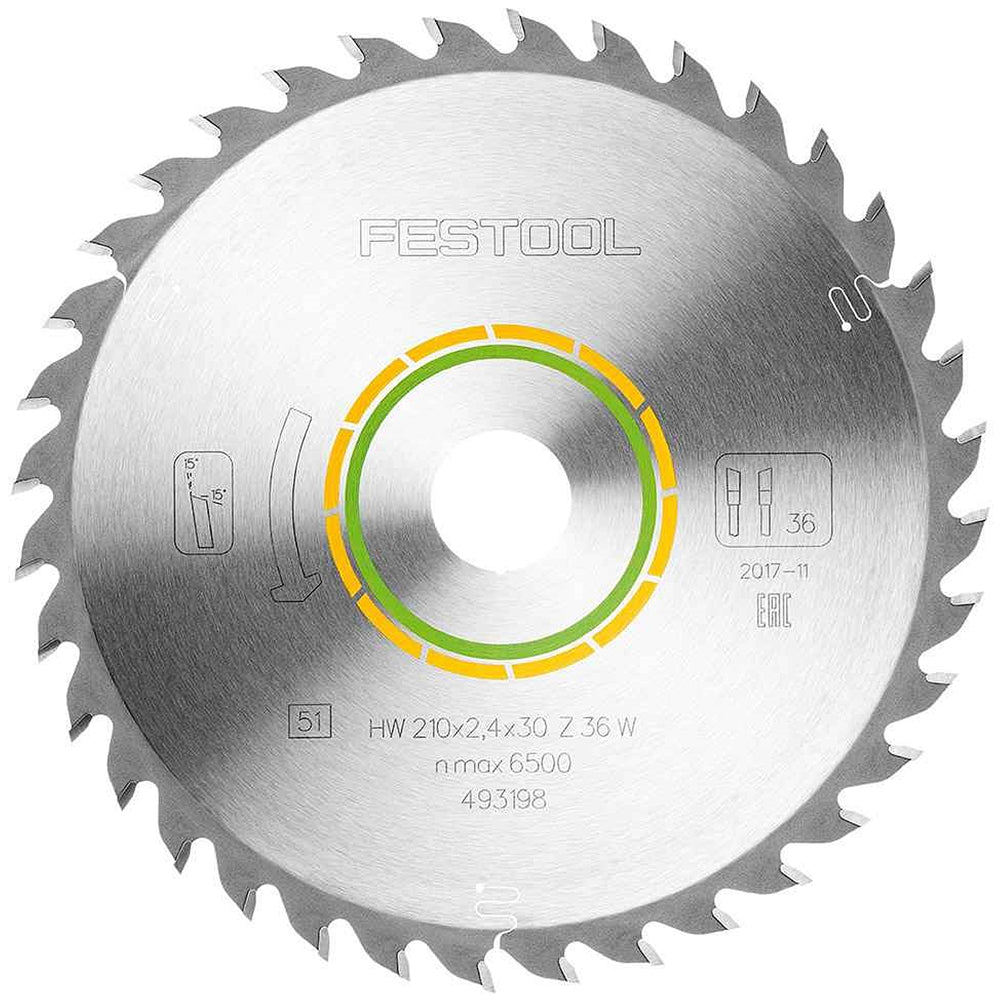 Festool Universal Saw Blade 210mm x 30mm 36T W36 For Plunge Saw 493198