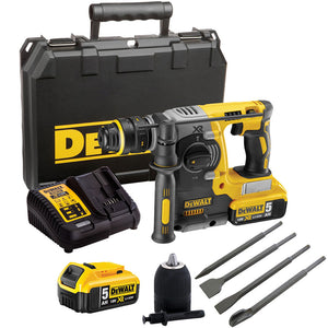 Dewalt DCH273P2 18V Hammer Drill Brushless & 4 Piece Chisel Set + Keyless Chuck