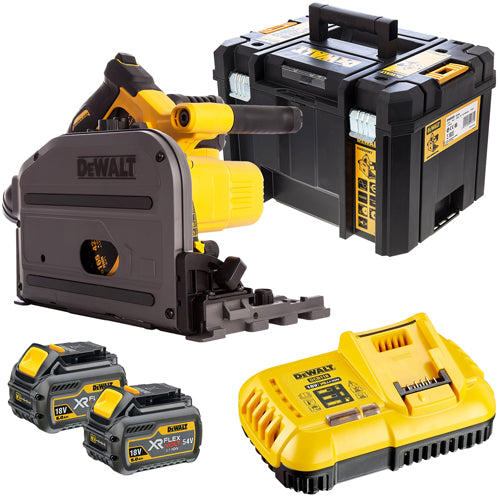 DeWalt DCS520T2 54V Flexvolt 165mm Plunge Saw with 2 x 6.0Ah Batteries & Charger in Case