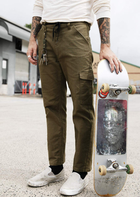 Afends Mens Heavy - Skate Chino Pant - Dark olive